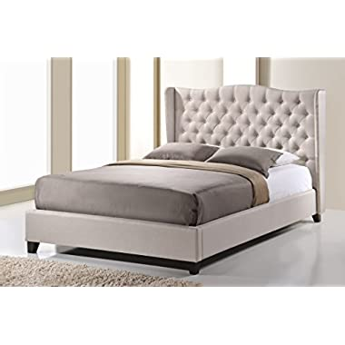 Baxton Studio Norwich Linen Modern Platform Bed, King, Light Beige