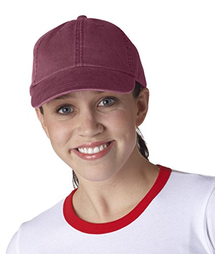 - Adams Cap 6-Panel Low-Profile Washed Pigment-Dyed Baseball Cap AD969 red One Size