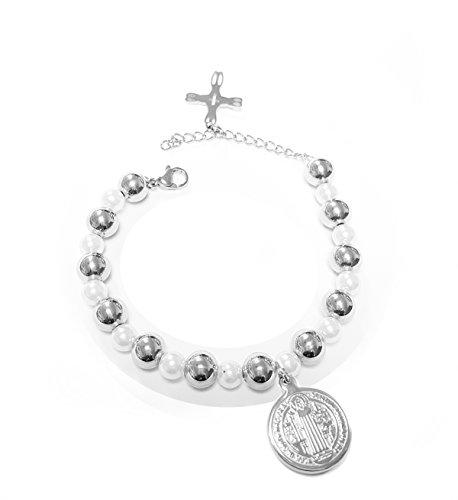 Catholic - Stainless Steel Saint Benedict Pearls and Beads Bracelet - San Benedicto - San Benito