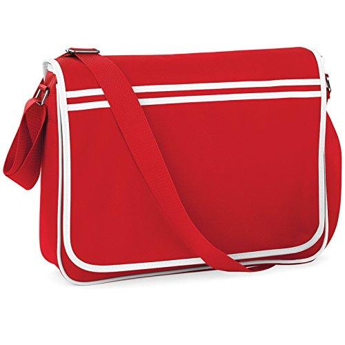 BAGBASE FUNKY RETRO MESSENGER BAG (4 COLS) (CLASSIC RED/WHITE) YJlnUIP
