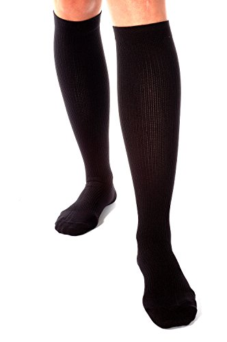 Made in USA Compression Socks for Men 30-40 mmHg - Soft Microfiber Material - X-Firm Dress Support Socks - Closed Toe - Absolute Support SKU: A305BL2 ()