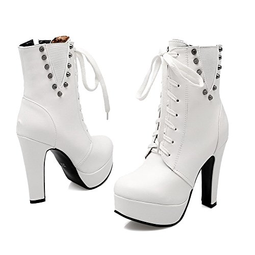 Closed Round Heels Allhqfashion Women's Toe Zipper White Boots Solid High PU SwFxTqC