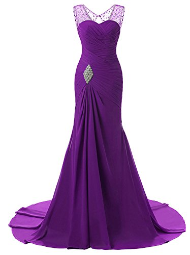 Lily Wedding Womens Mermaid Prom Bridesmaid Dresses 2018 Long Evening Formal Party Ball Gowns FED003 Purple Size14