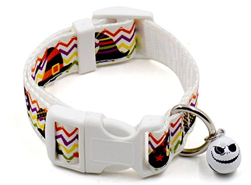 - Dog Collar, FMJI Pet Gifts Adjustable Nylon Pet Collars with Small Bell for Halloween /Festival/ Party (White hat, large 0.98-1.54Feet)