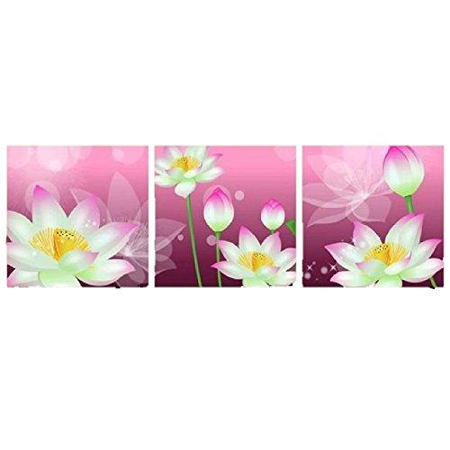 壁掛け アートパネル 【AP011 ピンク 蓮 花 40×40㎝×3パネルセット】薄型9㎜キャンバス 印刷布製 キャンバスアート 壁飾り B07DCP7X8R 22548 9mm薄型キャンバス|40×40㎝ 40×40㎝ 9mm薄型キャンバス
