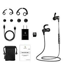 Bluetooth Headphones by North Buy – Premium Wireless Headphones with CHARGING ADAPTER, Noise Cancelling Headphones, Magnetic, Sports Earbuds, Water Proof, Sweat Proof, Compatible with iOS, Androids, CONNECTS WITH TWO DEVICES SIMULTANEOUSLY, Travel Adapter, Accessories, 1 Year Warranty, Black