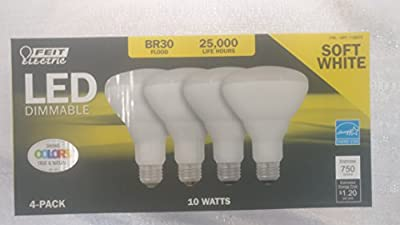 Feit LED Dimmable BR30 Flood Soft White Bulbs 65 Watts, Used 10 Watts, 4 Pack
