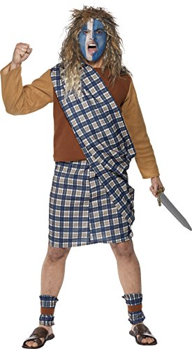 Smiffy's Men's Brave Scotsman Costume, Tartan, Top, Kilt with Sash and Leg Ties, Tales of England, Serious Fun, Size L, 31114