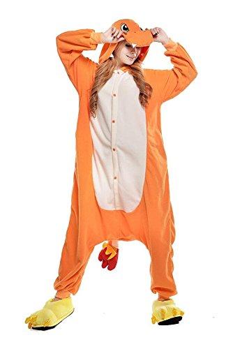 Cokle Adult Cartoon Pajamas One Piece Sleepsuit Hooded Lounge Sleepwear Animal Costumes Orange Charmander L ()