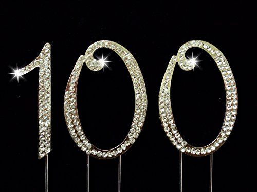 100th Birthday / Wedding Anniversary Number Cake Topper with Sparkling Rhinestone Crystals - 2.75 -