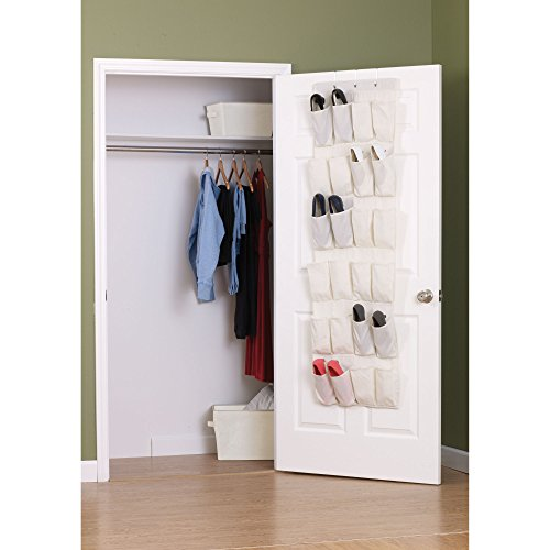 Household Essentials Over The Door 24 Packet Shoe Storage Organizer, Natural Canvas
