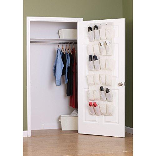 Household Essentials Over The Door 24 Packet Shoe Storage Organizer, Natural Canvas