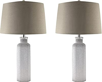 Sheffield Home 26.5 inch Ombre Grey and White Textured Glass Table Lamp Light - Perfect Living Room Decor, Bedside Lamps for Bedroom, Set of 2