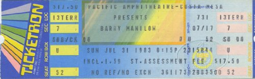 Barry Manilow 1983 Comes Night Unused Concert Ticket