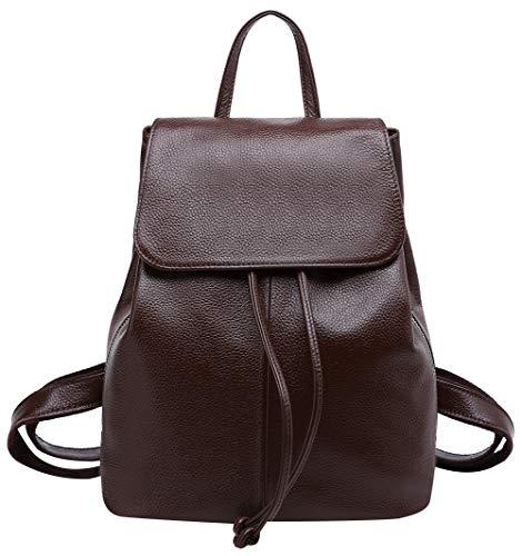 Genuine Leather Backpack for Women Elegant Ladies Travel School Shoulder Bag (Coffee ()