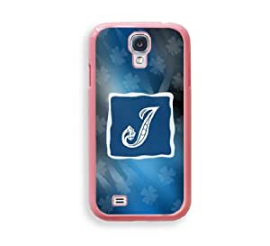 Blue Monogram J Pink Plastic Bumper Samsung Galaxy S4 I9500 Case - Fits Samsung Galaxy S4 I9500