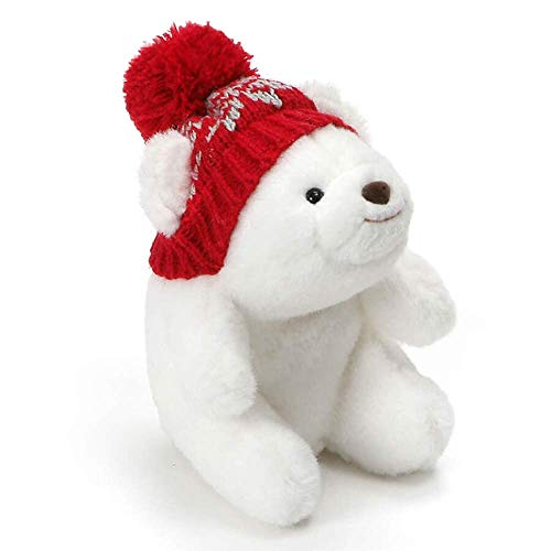 GUND Mini Snuffles with Knit Hat Teddy Bear Christmas Stuffed Plush Holiday Bear, White, 5