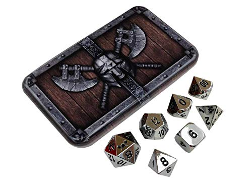 Skull Splitter Dice Chrome Silver Metal Dice - Shiny Chrome Color with Black Numbers | Solid Metal Polyhedral Role Playing Game (RPG) Dice Set (7 Die in Pack) with Awesome Dwarven Chest Dice Case from SkullSplitter Dice