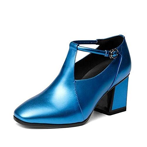 Nappa Fall ZHZNVX Chunky Heel Blue Silver Leather de Mujer Tacones Silver Comfort Zapatos Pink qFttxXB