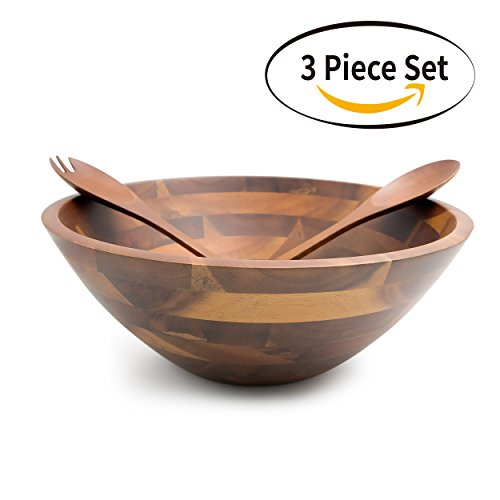 The Wooden Bowl (Aidea 12.5-Inch Large Serving Wooden Salad Bowls with Servers Set, Acacia Wood, 3 pieces, TR-WS3)