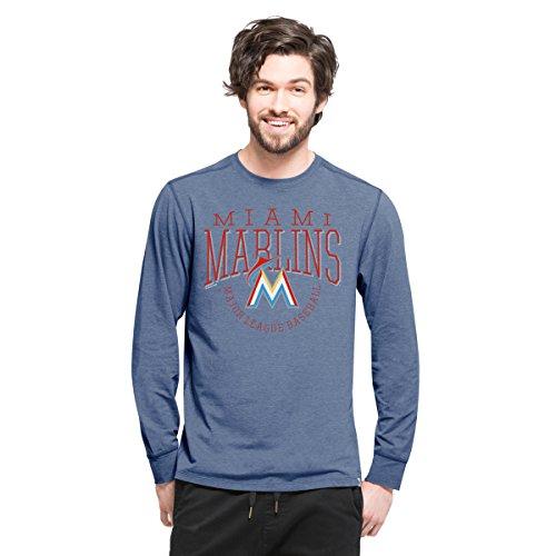 MLB Miami Marlins Men's '47 Cadence Long Sleeve Tee, Large, Shift Black (Marlin Long Sleeve Tee)