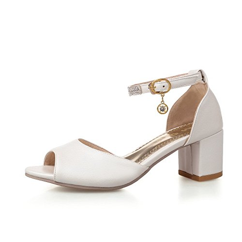 Kitten WeenFashion Toe White Buckle Soft Women's Solid Heels Material Open Sandals 5AwUA