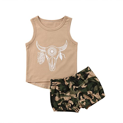 - Toddler Baby Boy Kids Sleeveless Vest T-Shirt Top Pants 2Pcs Outfit Clothes Set (Khaki+Camo, 2-3Y)