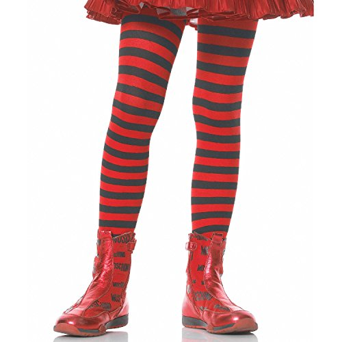 Leg Avenue's Children's Striped Tights, Black/Red, Medium