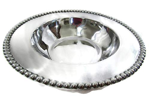 MEXICAN PEWTER SERVING BOWL FRUIT SALAD CHIPS SALSA BOWL HAND CAST (XL Beaded Edge Serving Dish)