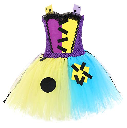 Tutu Dreams Halloween Sally Costumes for Girls Gothic Patch Nightmare Before Christmas Cosplay Clothes Blue Purple Yellow (1, Large for 5-6Y) -