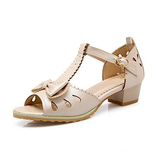 VogueZone009 Damen Weiches Material Rein Schnalle Sandalen Aprikosen Farbe