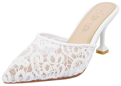 Mofri Women's Elegant Lace Pointed Toe Clogs - Gauze Embroidered Solid Color - Slide on Stiletto High Heels Sandals (White, 7 B(M) US)