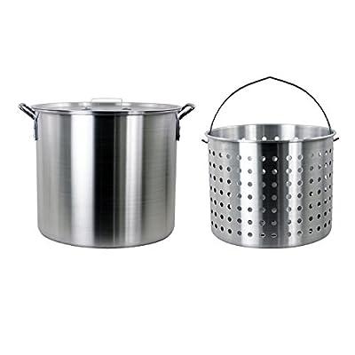 CHARD ASP42 Aluminum Stock Pot and Perforated Strainer Basket Set, 42 Quart