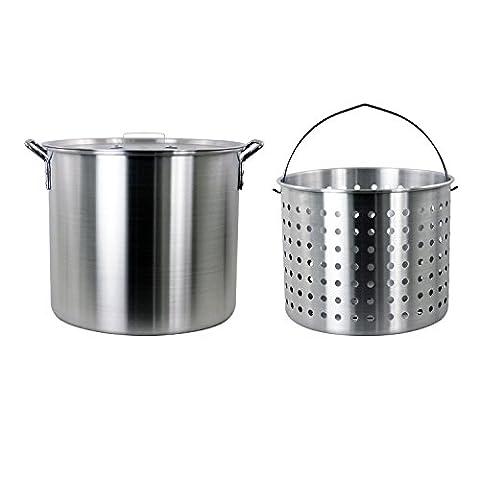 CHARD ASP42 Aluminum Stock Pot and Perforated Strainer Basket Set, 42 Quart - Clam Steamer Pot