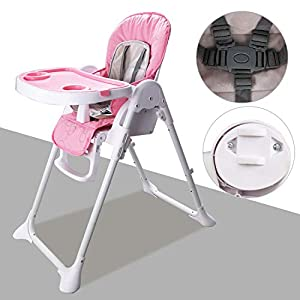 Hengda Highchair Foldable Adjustable Feeding Chair High Chairs with Removable Tray and 5 Point Safety Belt for Baby…
