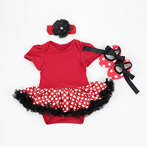 (Reborn Baby Doll Clothes Outfit for 20-23 Inch Reborns Newborn Babies Matching Clothing Headband Red Tutu Dress Shoes Three-Piece Set)