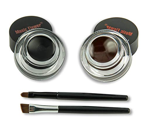 Frola 2 In 1 Long-wear Gel Eyeliner Smudge-proof & Waterproof, 2 Pieces Eye Makeup Brushes Included (#3 Black+Brown)