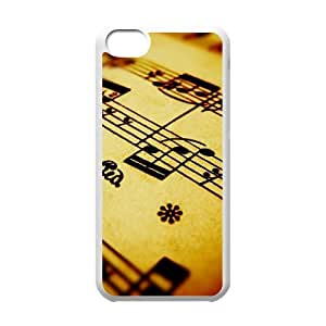 Vinceryshop Music IPhone 5C Case Compose Music Note Ilike Hardshell for Girls, Protective Case for Iphone 5 Hardshell for Girls [White]