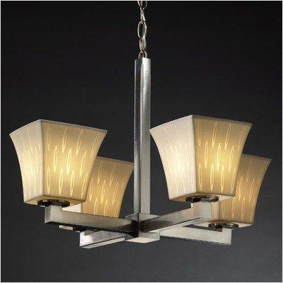 Justice Design POR-8829-40-SAWT-DBRZ Modular Four Light Chandelier, Impression Option: Sawtooth Shade Impression, Choose Finish: Dark Bronze Finish, Choose Lamping Option: Standard - Chandelier Bronze Modular Dark