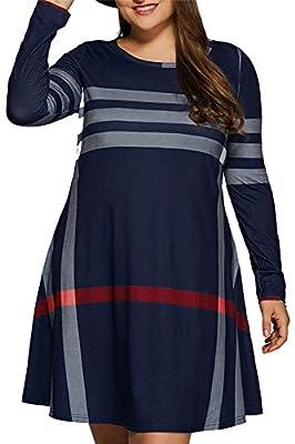 Meenew Women's Long Sleeve Plus Size T Shirt Dress Stripe Loose Tunic Tops