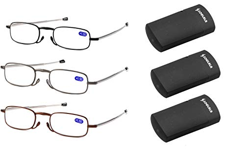 SOOLALA Metal Aolly Frame Folding Magnifying Compact Reading Glasses Reader w/Case, 3Pairs, 1.5D