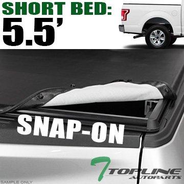"Topline Autopart Hidden Snap On Vinyl Truck Bed Tonneau Cover For 15-18 Ford F150 Super Crew (Crew) Cab 5.5 Feet (66"") Short Bed"