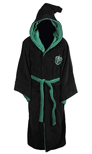 HARRY POTTER Slytherin Adult Fleece Hooded Bathrobe (One Size) -