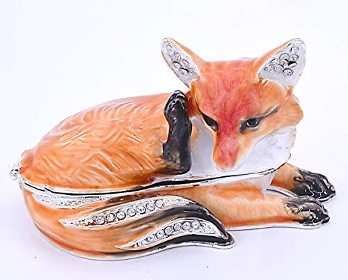 (Ciel Collectables Sitting Fox Trinket Box. Hand Made with Swarovski Crystals & Enamel)