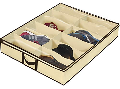 (Ziz Home Under Bed Shoe Organizer for Kids and Adults (12 Pairs) - Underbed Shoes Closet Storage Solution - Made of Breathable Materials with Front Zippered Closure - Easy to Assemble)