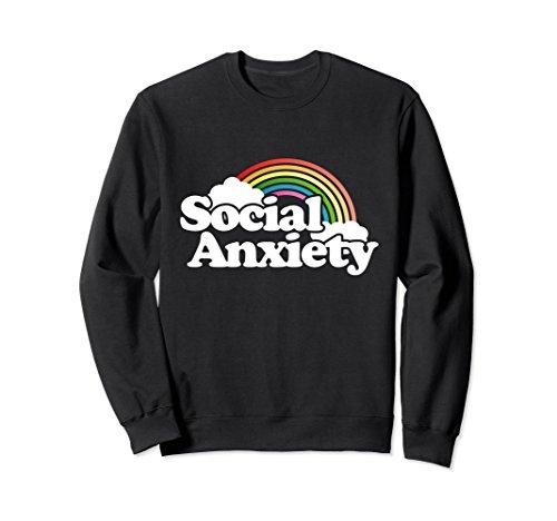 Rainbow Adult Sweatshirt (Unisex Social Anxiety sweatshirt retro rainbow sweatshirts funny Large Black)
