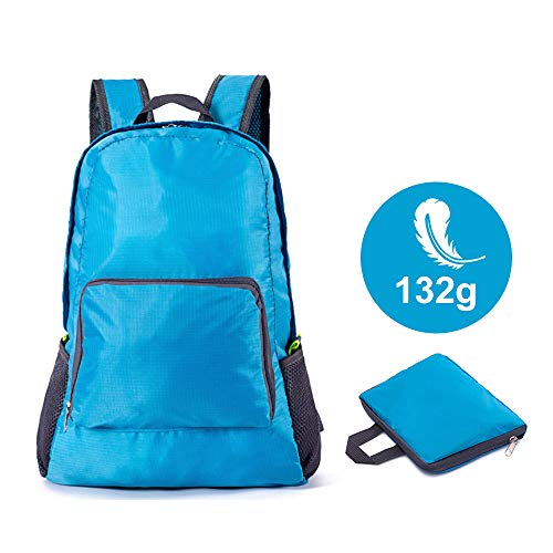 Perkisboby Foldable Backpack, Packable Daypack Waterproof, 132g Ultra Lightweight Backpack for Travel, Hiking, Outdoor – Blue