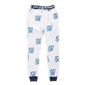 Casual White Sweatpants Men/women Letter 100 emoji joggers pants (L)