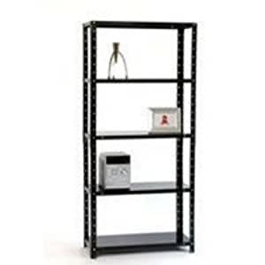 Storage Solutions Medium Duty Bolted 5-Shelf Unit D400mm Black ZZBS5BK180C09040 by Logos Fulfilment Services Ltd