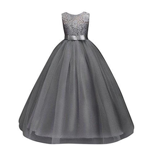 Boomboom Sleeveless Flower Girl Dress Formal Holiday Princess Wedding Bridesmaid Dress Size 5t-12t (5T, Gray) -